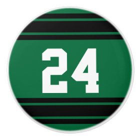 Sport Stripes Dark Green and Black with Number Ceramic Knob