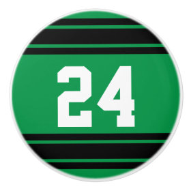 Sport Stripes Green and Black with Number Ceramic Knob
