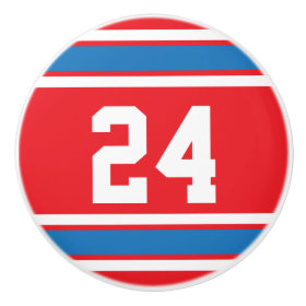 Sport Stripes Red, White and Blue with Number Ceramic Knob