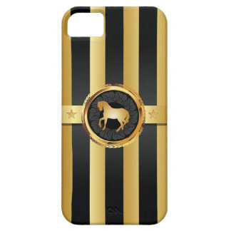 Sport Style Black Stripes Gold Horse iPhone 5 Case