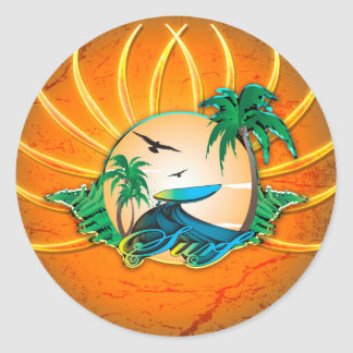 Sport, surfing classic round sticker