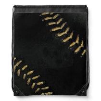 sport-themed black baseball ball drawstring bag