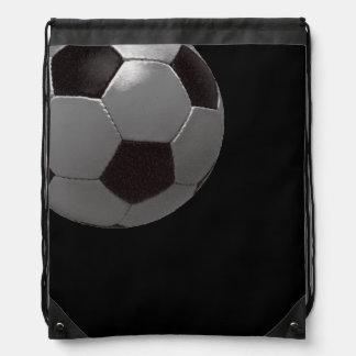 sport-themed black football ball drawstring bag