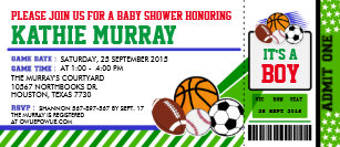 Sport Ticket P Baby Shower Invitation
