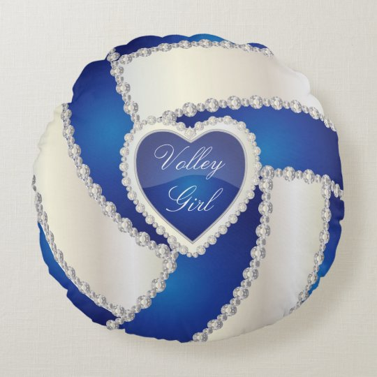 Diy Round Throw Pillows : Sport Volleyball DIY Text Blue Round Pillow Zazzle