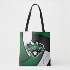 Sport Volleyball | DIY Text - Dark Green Tote Bag at Zazzle