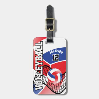 Sport Volleyball | DIY Text - Red, White and Blue Luggage Tag
