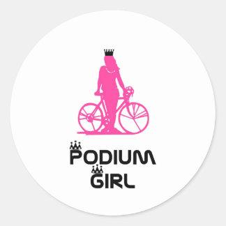 SportChick Podium Girl Round Sticker