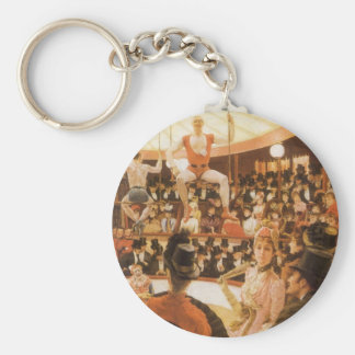 Sporting Ladies (or Circus Lover) by James Tissot Basic Round Button Keychain