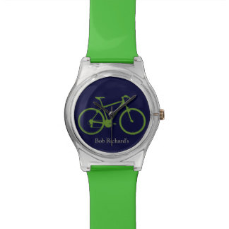 sportive green bicycle wristwatches