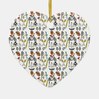 Sports A Plenty Double-Sided Heart Ceramic Christmas Ornament