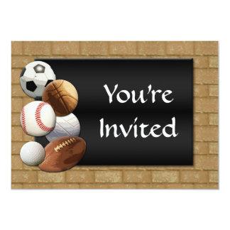 Sports Al-Star, Basketball/Soccer/Football 5x7 Paper Invitation Card