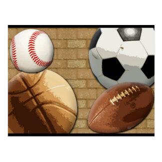 Sports Al-Star, Basketball/Soccer/Football Postcard