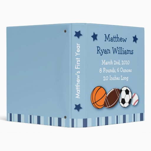 Sports All Star Baby Photo Album Scrapbook 3 Ring Binders