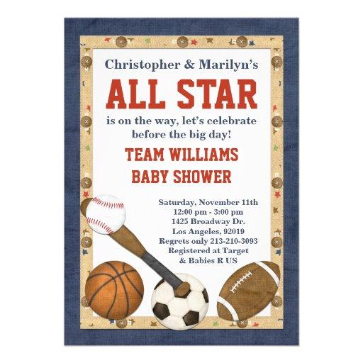 sports all star baby shower invitation 5 x 7 invitation card