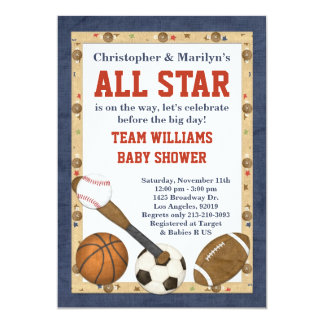 all star baby shower invitations & announcements | zazzle, Baby shower invitations