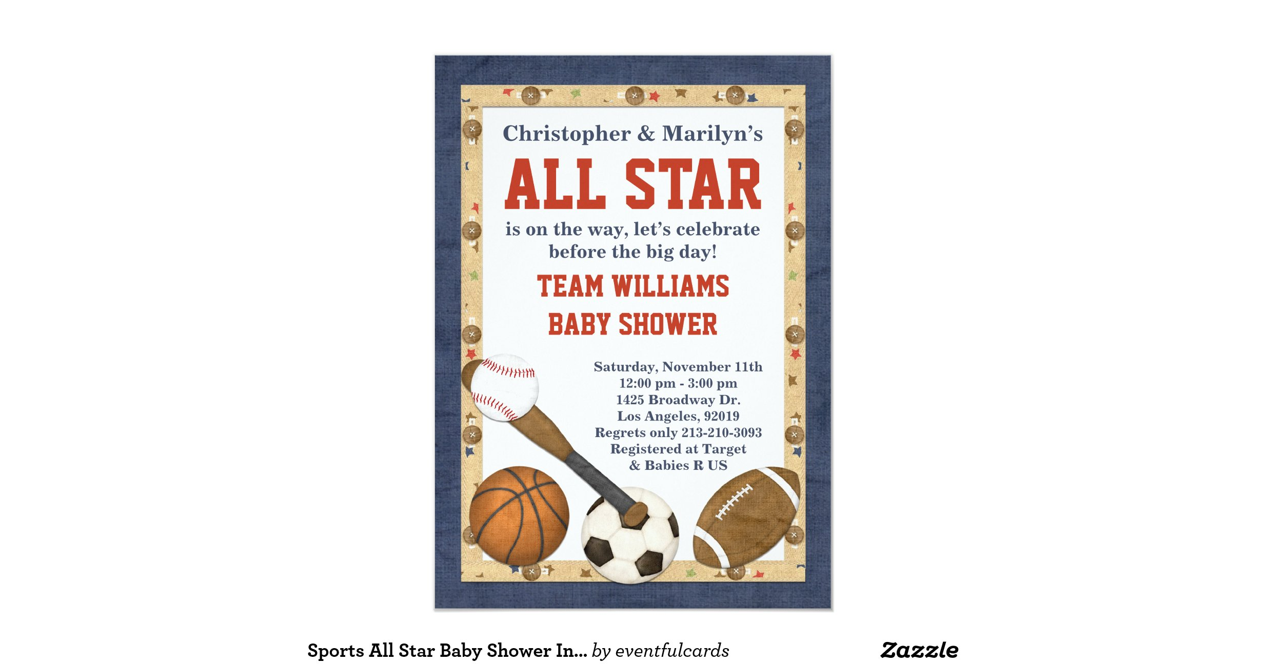 sports all star baby shower invitation