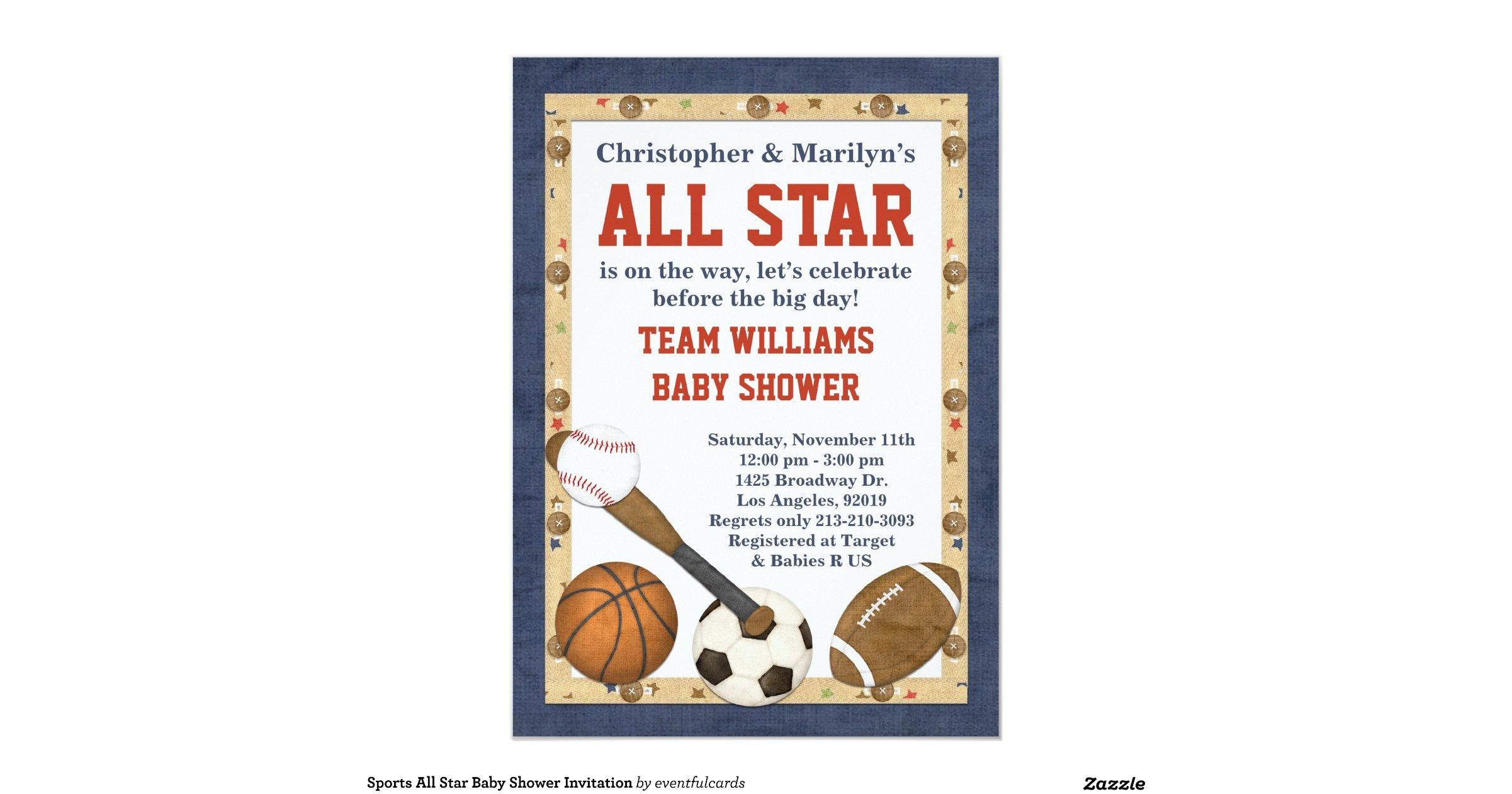 sports all star baby shower invitation