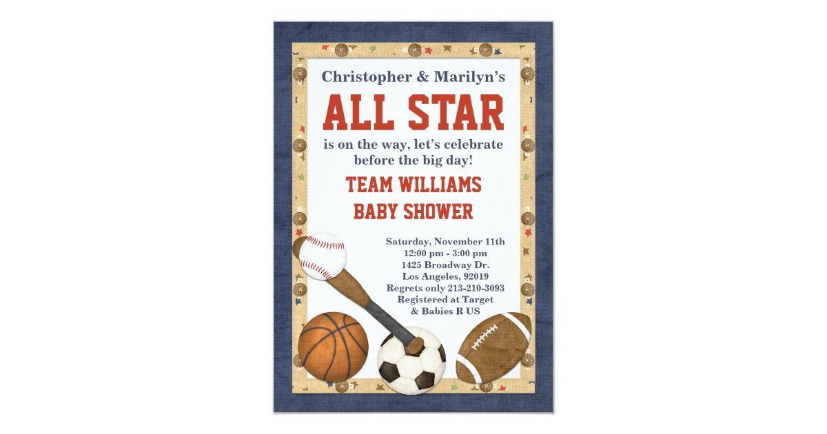 sports all star baby shower invitation zazzle