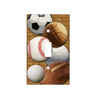 Sports All-Star Balls with Brick Wall Light Switch Plate