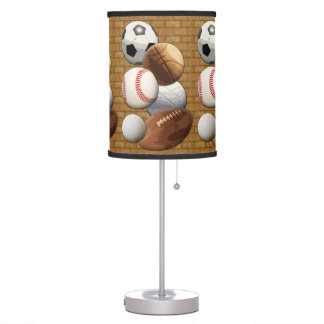 Sports All-Star Balls with Brick Wall Table Lamp