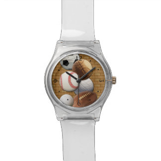 Sports All-Star Balls with Brick Wall Watch