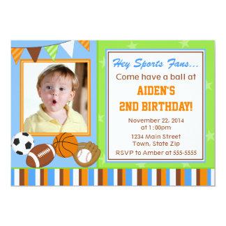 Sports All-Star Birthday Invitation 5x7 Photo Card