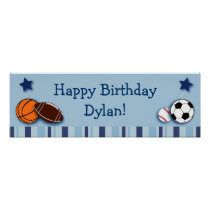 Sports All Star Personalized Birthday Banner Poster