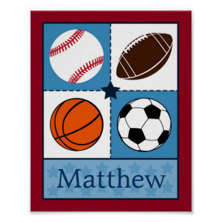 Sports All Star Personalized Name Art Print