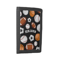 Sports All Star Personalized Name Black Trifold Wallet at Zazzle