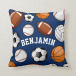 "Sports All STAR Personalized Name Navy Throw Pillow<br><div class=""desc"">A navy throw pillow featuring an assortment of sports balls and a spot for your gift recipient&#39;s name centered within them.</div>"