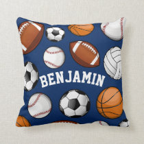 Sports All STAR Personalized Name Navy Throw Pillow