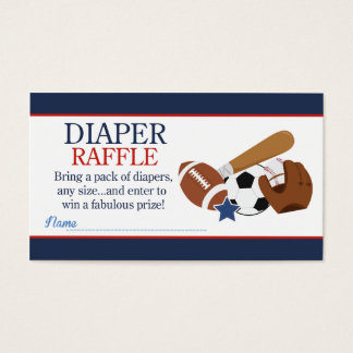 Sports All Stars Boy Baby Shower Diaper Raffle Business Card