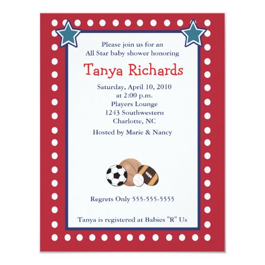 sports all stars red border baby shower invitation | zazzle, Baby shower invitations