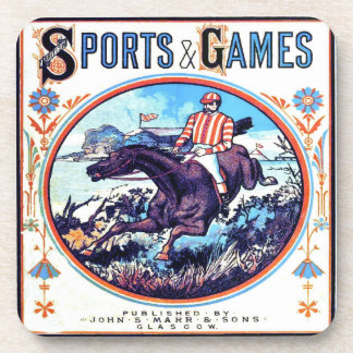 Sports and Games Hunting Vintage Book Cover Coasters