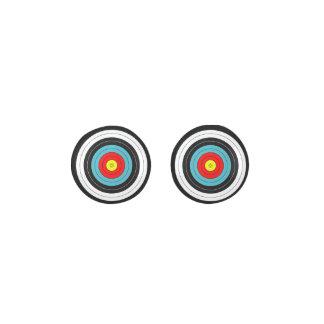 Sports Archery Target on Black Earrings