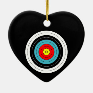 Sports Archery Target on Black Heart Double-Sided Heart Ceramic Christmas Ornament