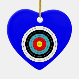 Sports Archery Target on Blue Heart Double-Sided Heart Ceramic Christmas Ornament