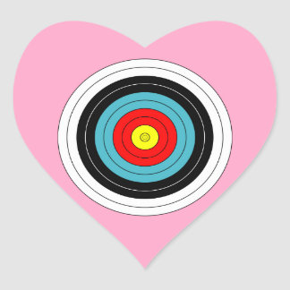 Sports Archery Target on Carnation Pink Heart Heart Sticker