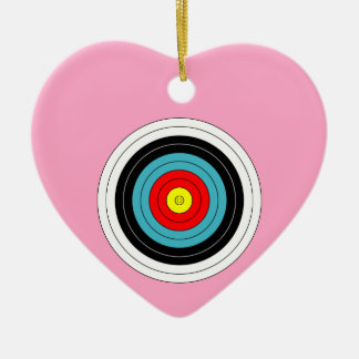 Sports Archery Target on Carnation Pink Heart Double-Sided Heart Ceramic Christmas Ornament