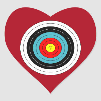 Sports Archery Target on Dark Red Heart Heart Sticker