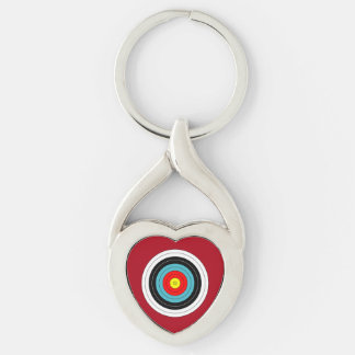 Sports Archery Target on Dark Red Heart Keychain