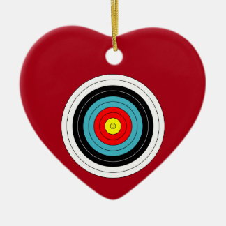 Sports Archery Target on Dark Red Heart Double-Sided Heart Ceramic Christmas Ornament