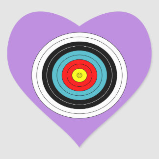Sports Archery Target on Lavender Purple Heart Heart Sticker