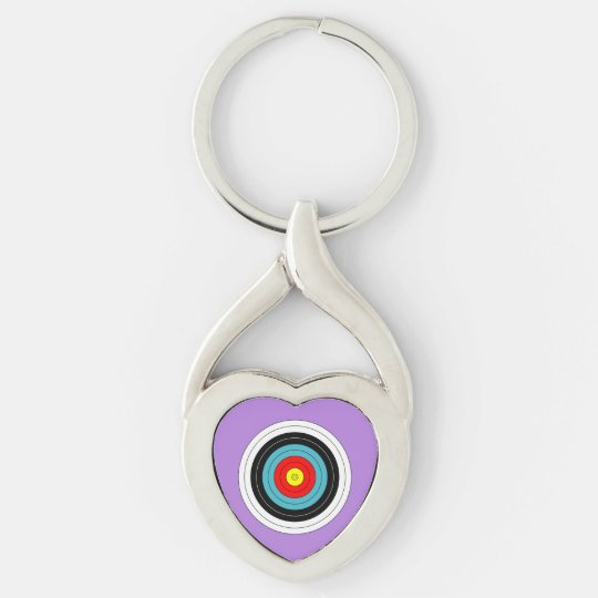 Sports Archery Target on Lavender Purple Heart Keychain