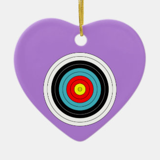 Sports Archery Target on Lavender Purple Heart Double-Sided Heart Ceramic Christmas Ornament