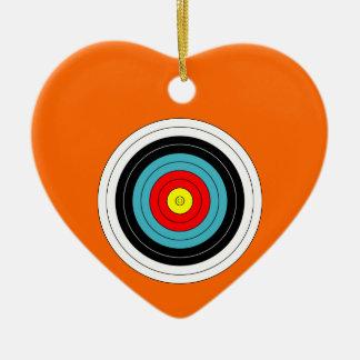 Sports Archery Target on Orange Heart Double-Sided Heart Ceramic Christmas Ornament