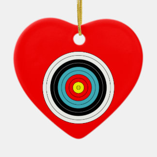 Sports Archery Target on Red Heart Double-Sided Heart Ceramic Christmas Ornament