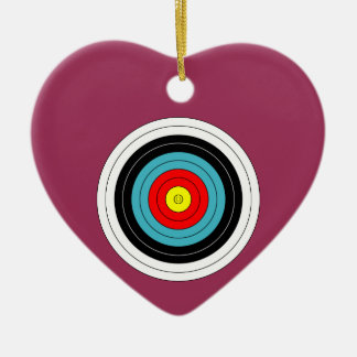 Sports Archery Target on Sangria Pink Heart Double-Sided Heart Ceramic Christmas Ornament