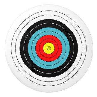 Sports Archery Target on White Ceramic Knob